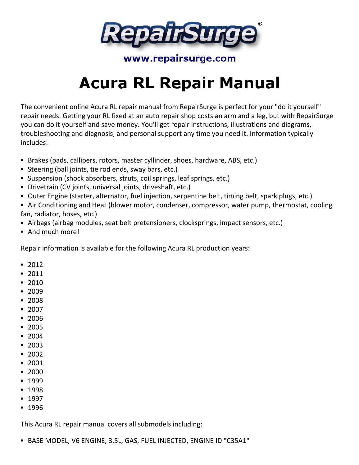 2000 acura rl manual