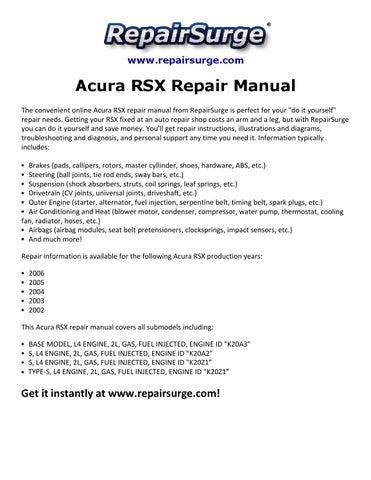2002 acura rsx type s repair manual