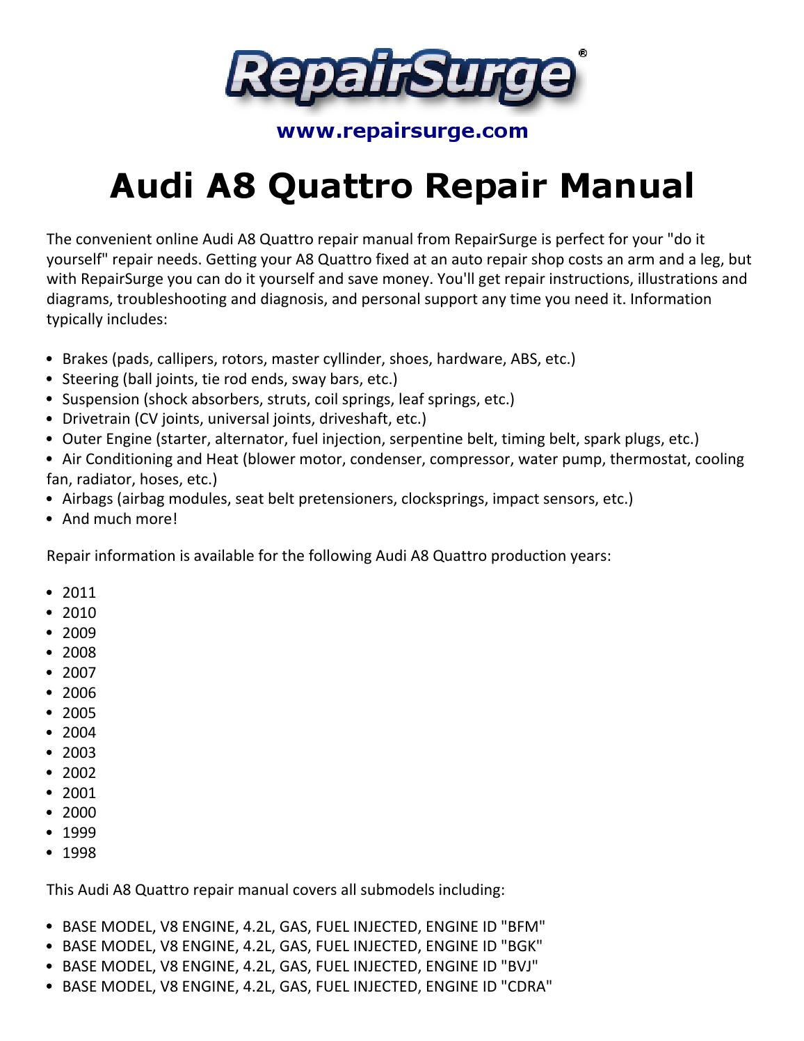 Audi A8 Quattro Repair Manual 1998 2011 By Jasper2334 Issuu V8 Engine Diagram