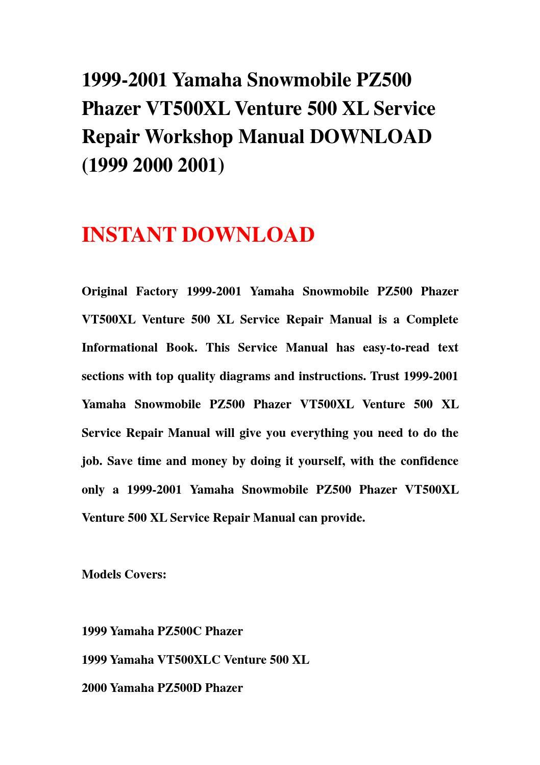1999 2001 Yamaha Snowmobile Pz500 Phazer Vt500xl Venture