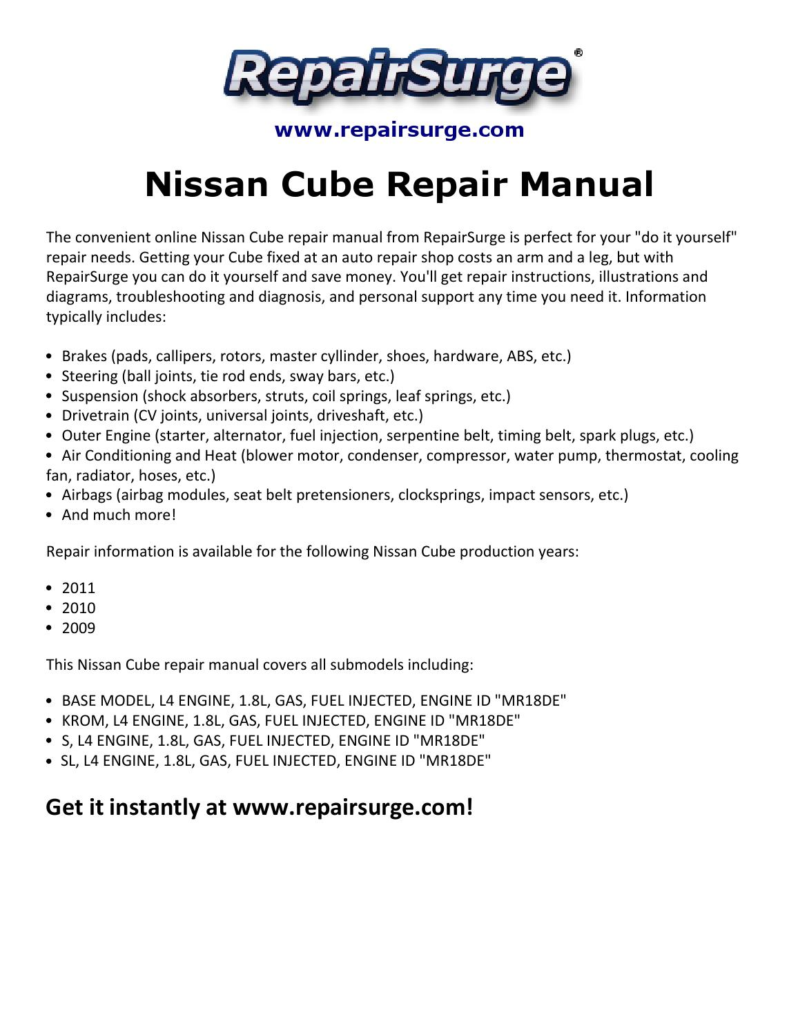 Nissan Cube Repair Manual 2009 2011 By Chris Bechard Issuu Engine Diagram