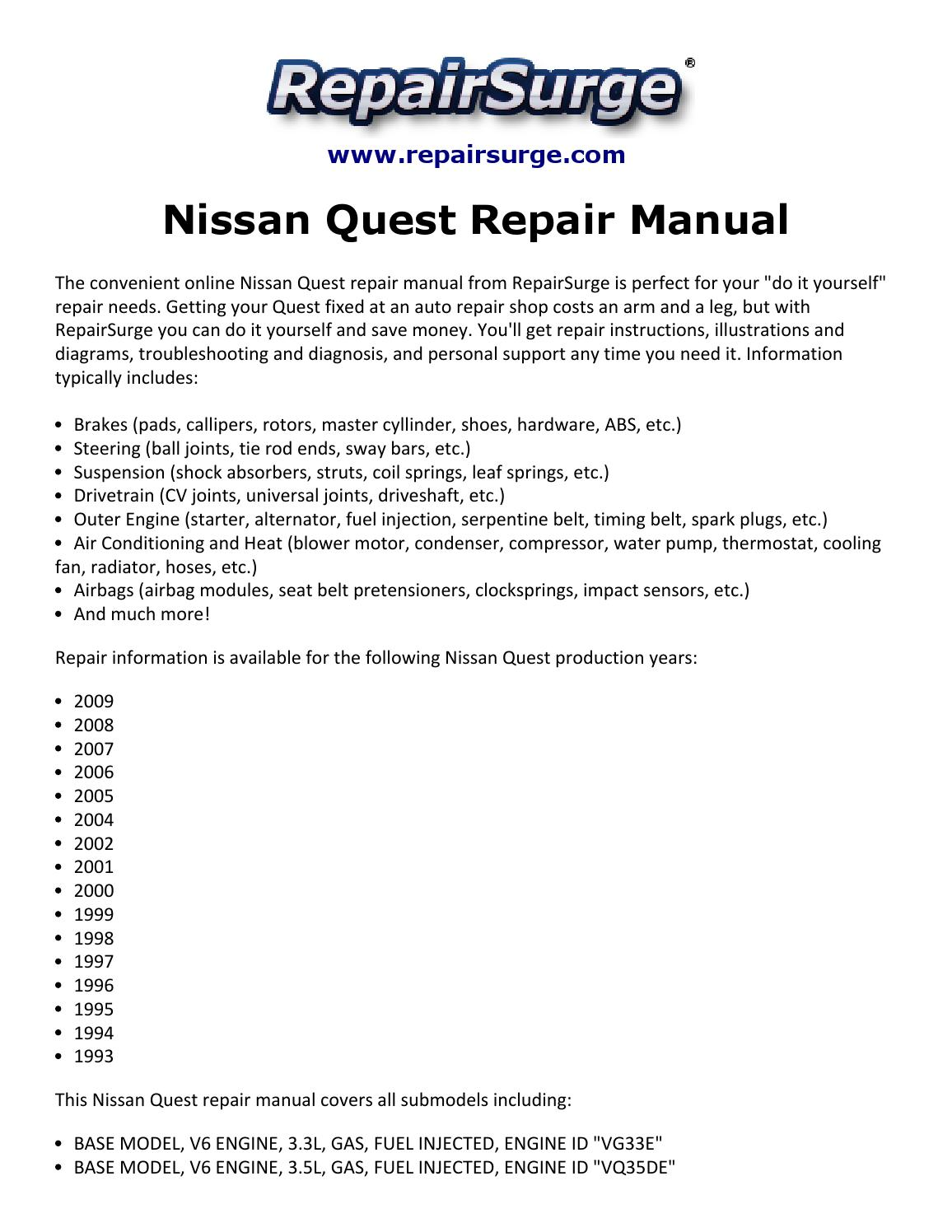 Nissan Quest Repair Manual 1993 2009 By Chris Bechard Issuu Vg30e Engine Diagram