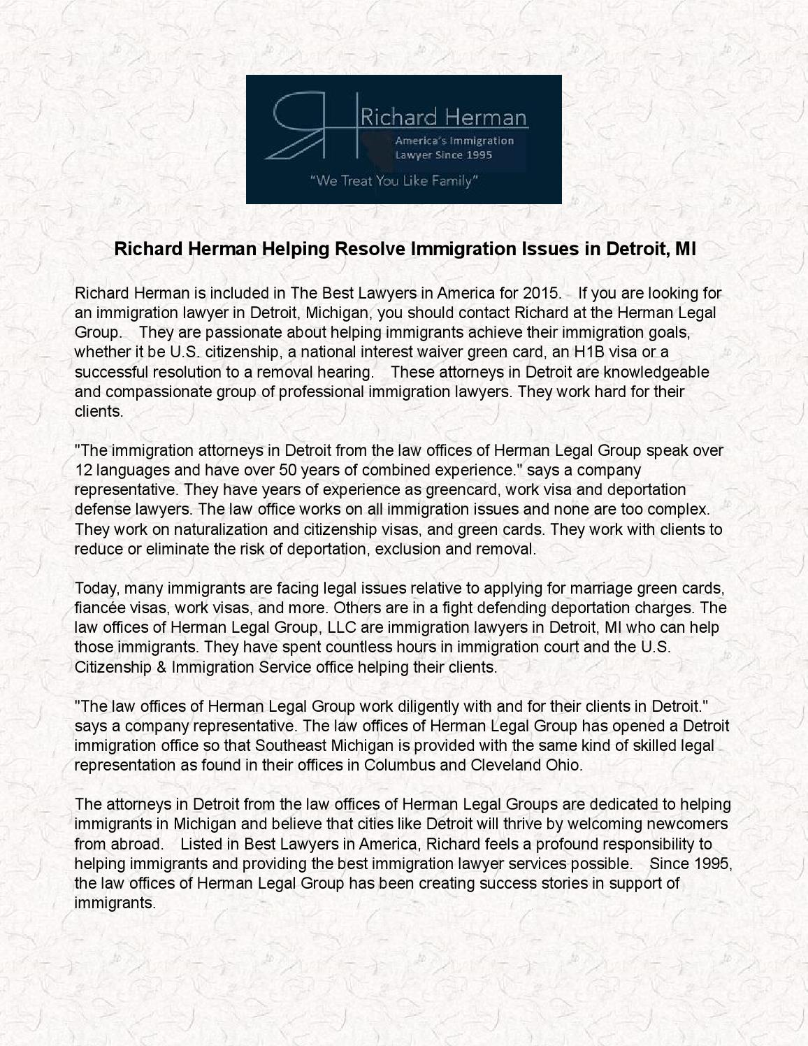 Richard Herman Helping Resolve Immigration Issues In Detroit Mi By