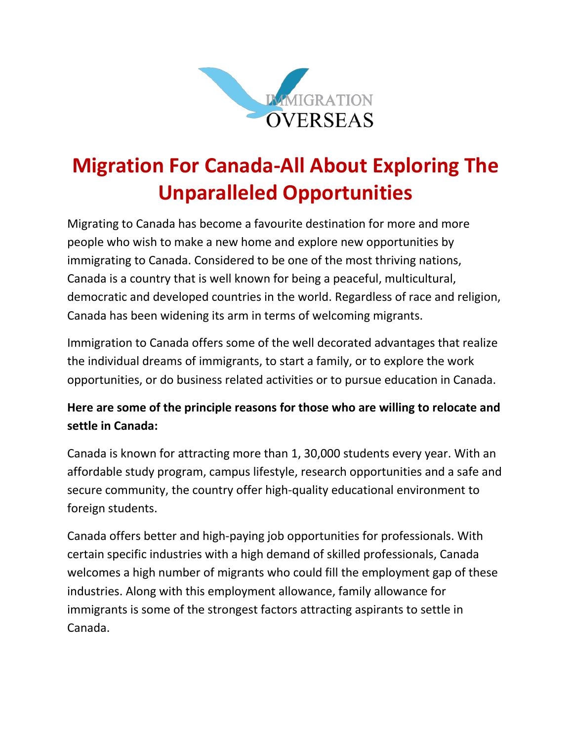 Explore Exceptional Opportunities While Migration To Canada