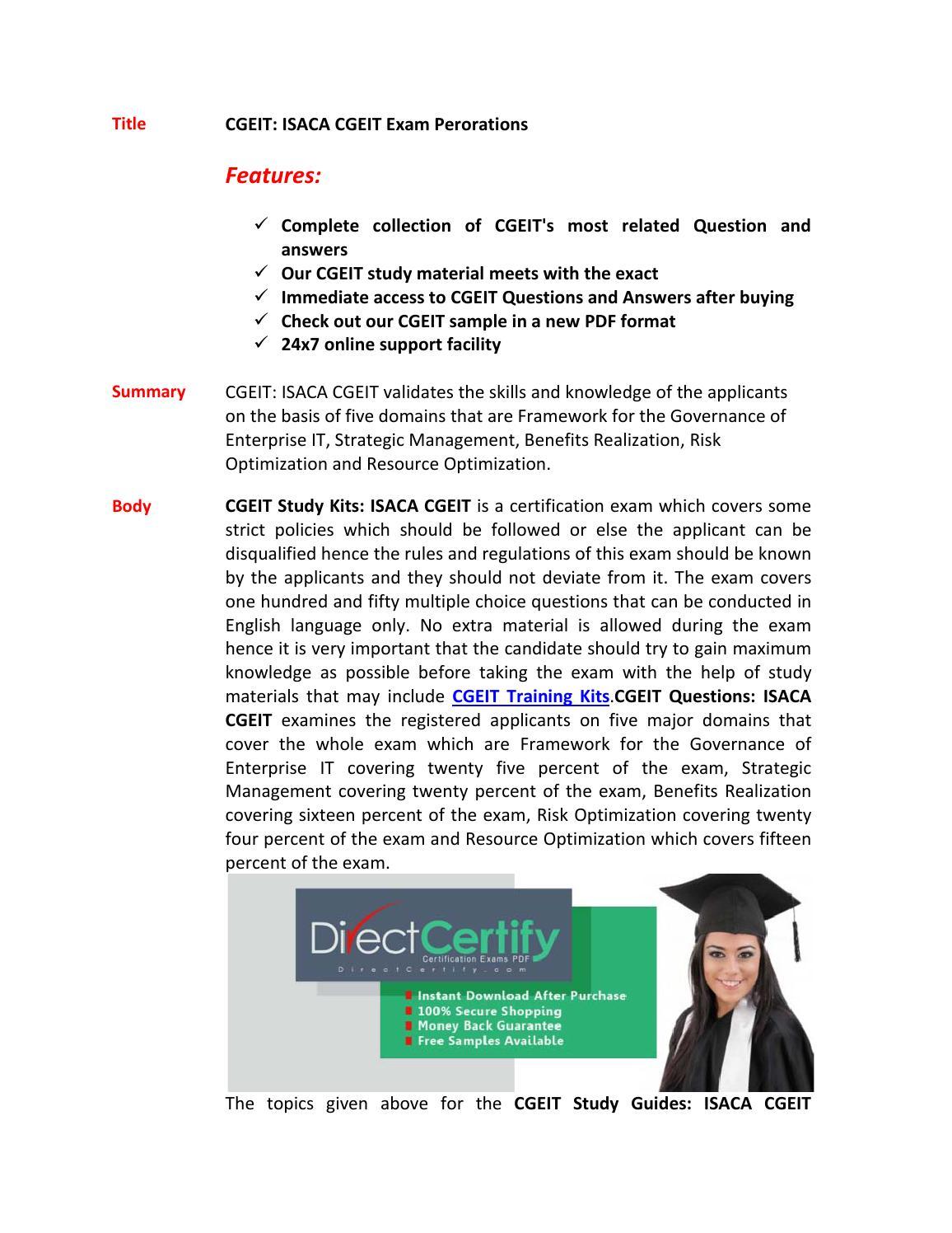 CGEIT Study Materials - ISACA