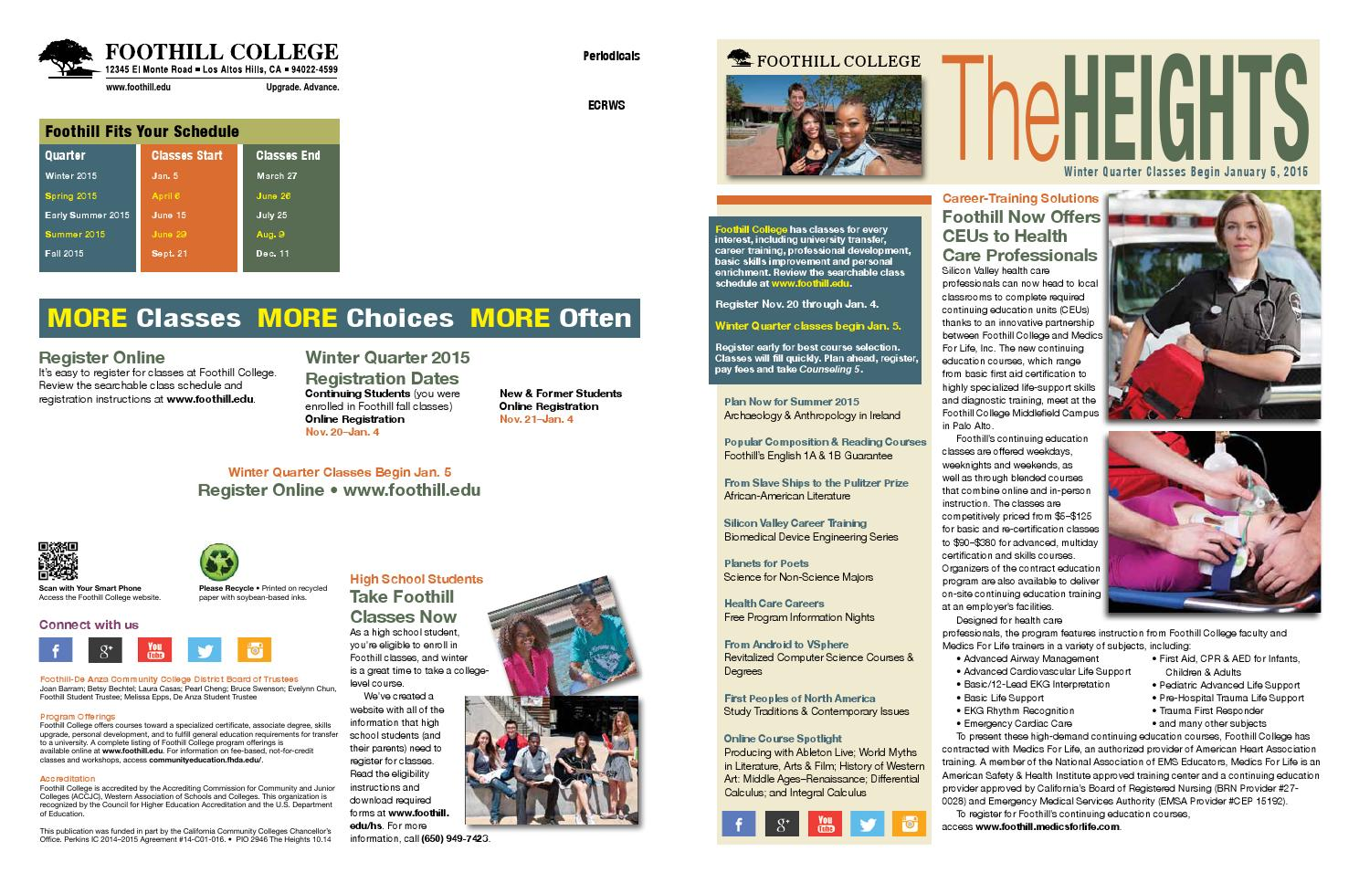Foothill College Winter 2015 Heights Magazine By Foothill