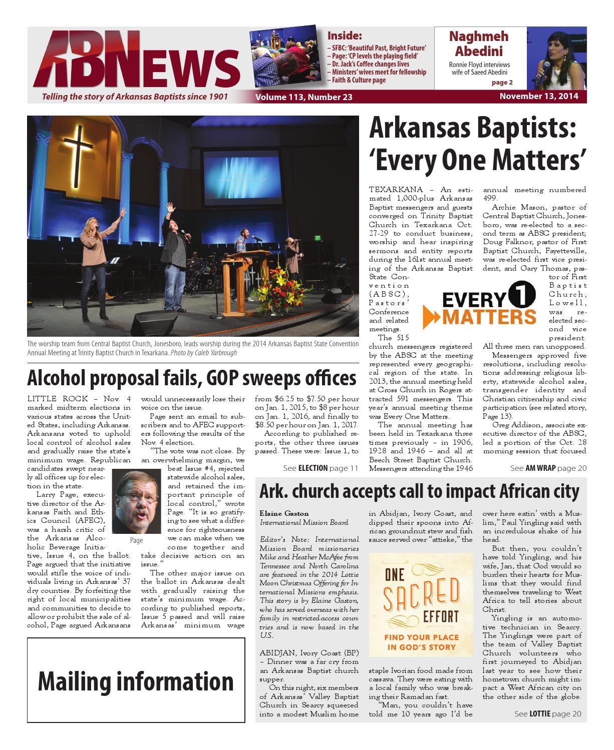 11-13-14 ABN Now by Arkansas Baptist News - issuu
