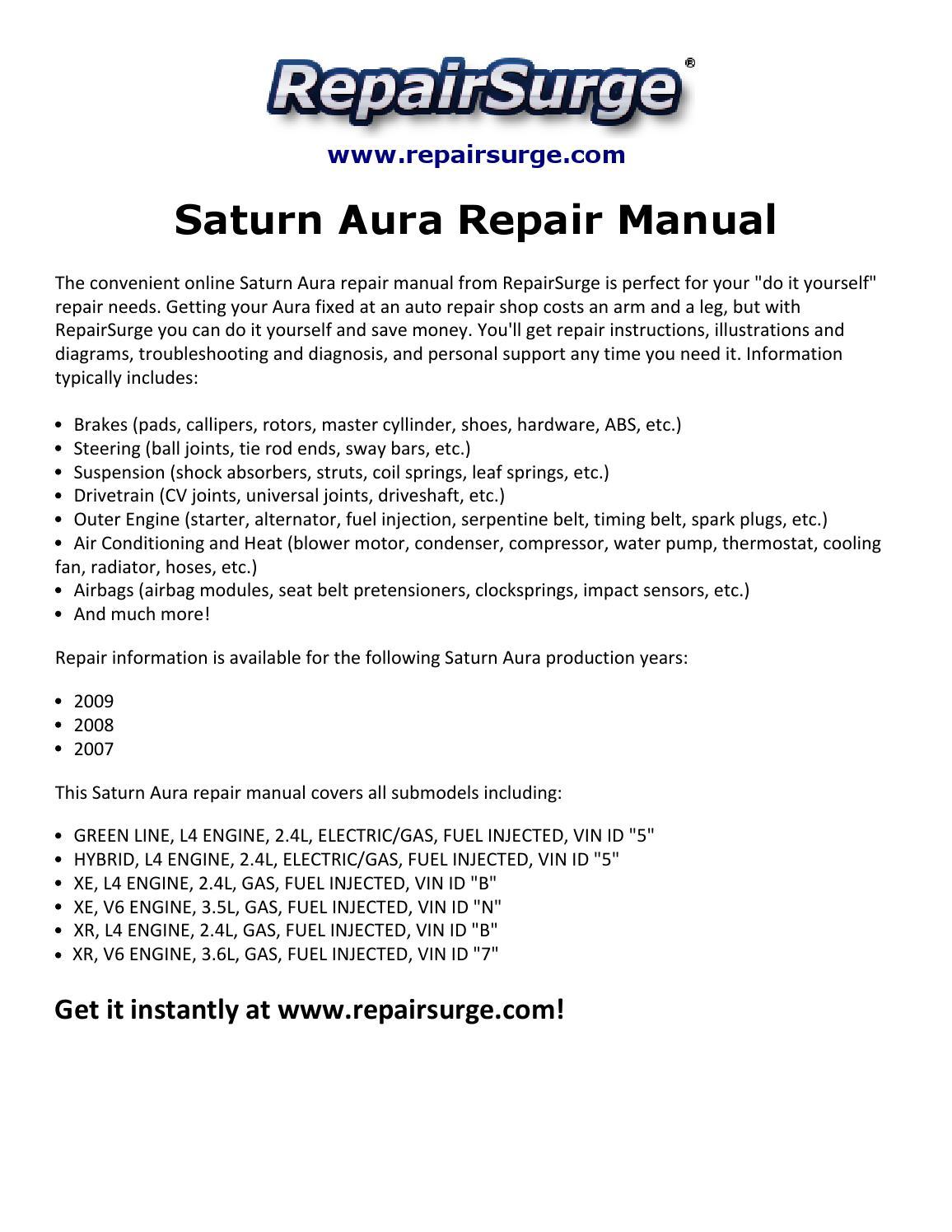 2007 Saturn Aura 3 5 Engine Water Pump Diagram Wiring Library Repair Manual 2009 By Malone Sha Issuu