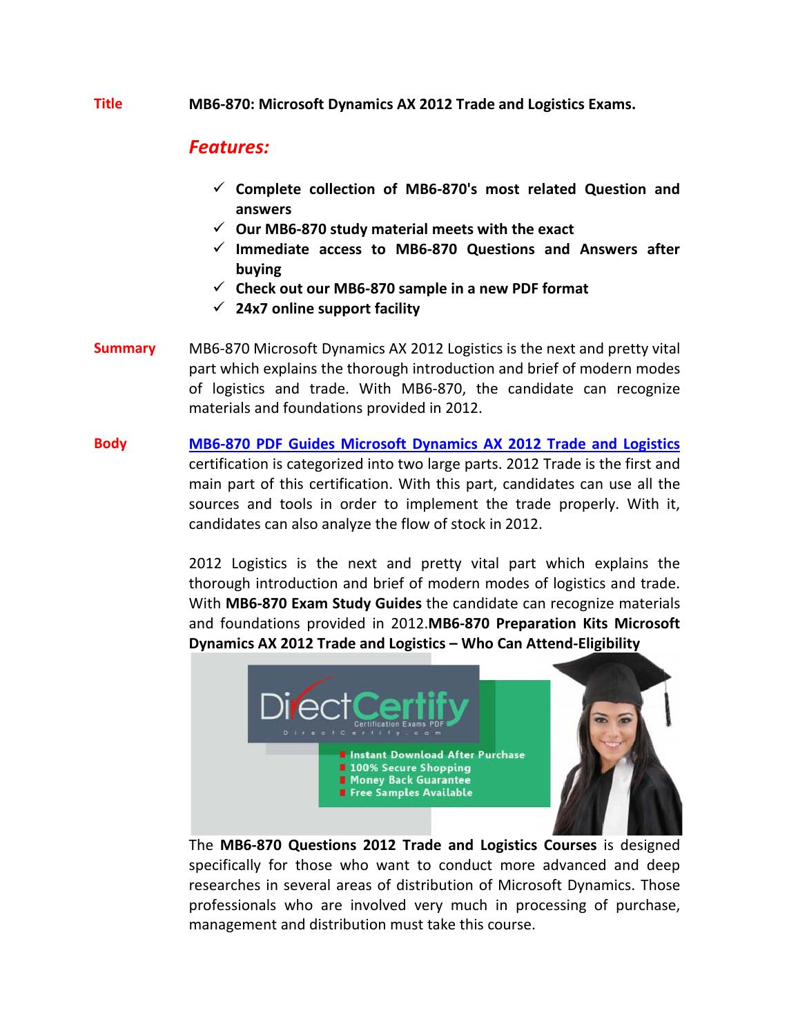 Mb6 870 Latest Certification Demo By Clark Chan Issuu
