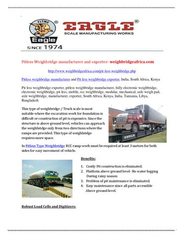 Pitless Weighbridge manufacturer and exporter