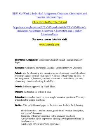 Edu 305 week 5 individual assignment classroom observation