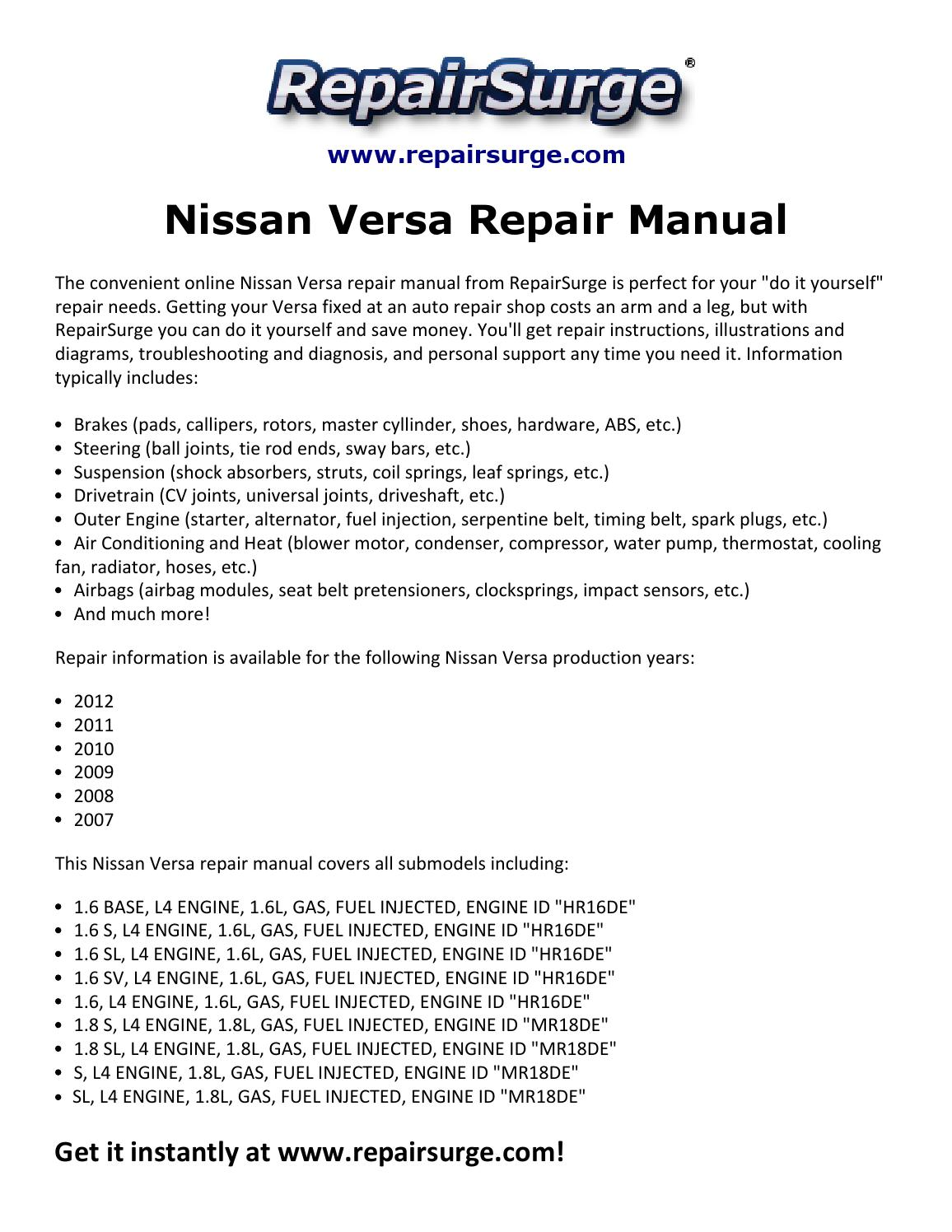 Brilliant Nissan Versa Repair Manual 2007 2012 By David Williams Issuu Wiring 101 Ferenstreekradiomeanderfmnl