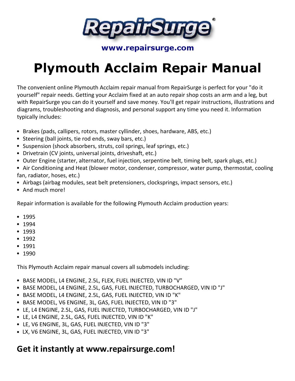 plymouth acclaim repair manual by david williams issuu