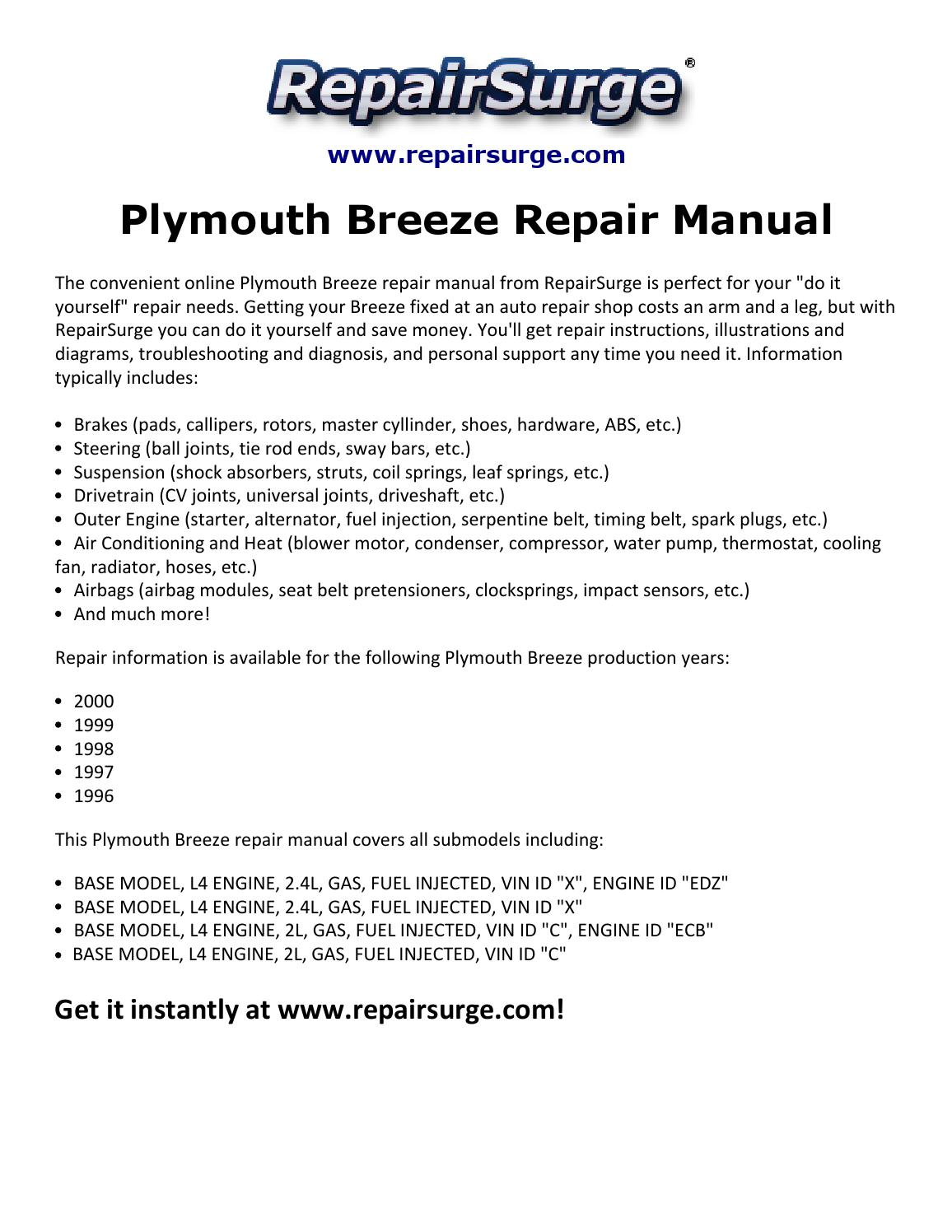 1999 Plymouth Breeze Radiator Diagram Wiring Services 1998 Fuse Box Repair Manual 1996 2000 By David Williams Issuu Rh Com