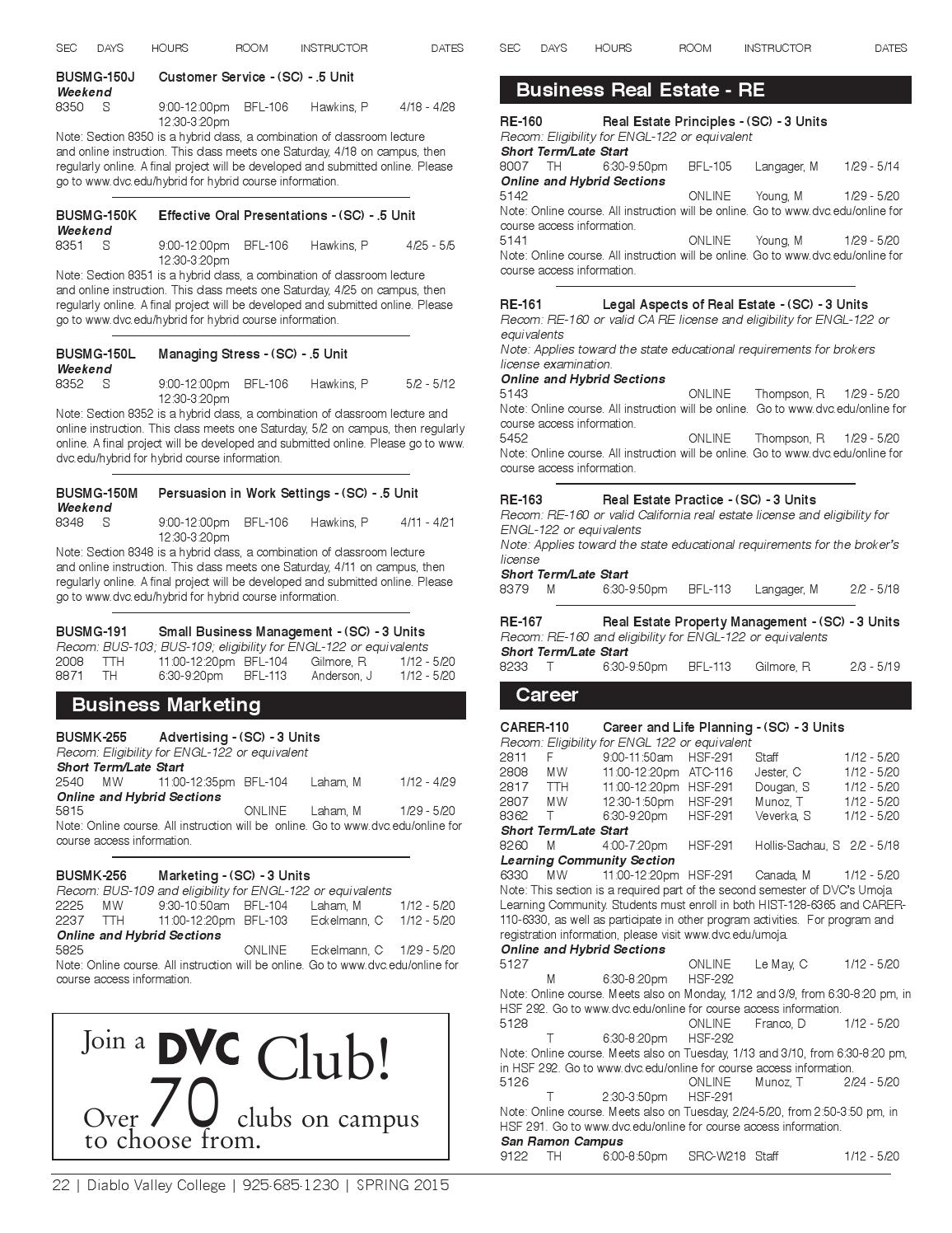 DVC Spring 2015 Class Schedule by Diablo Valley College - issuu