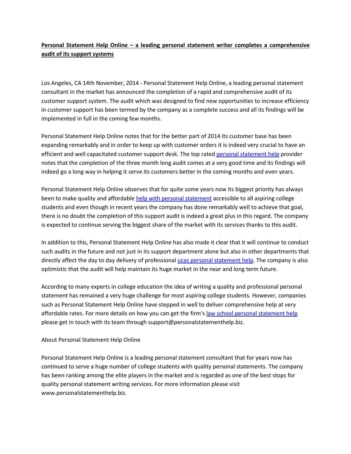 Personal statement help online
