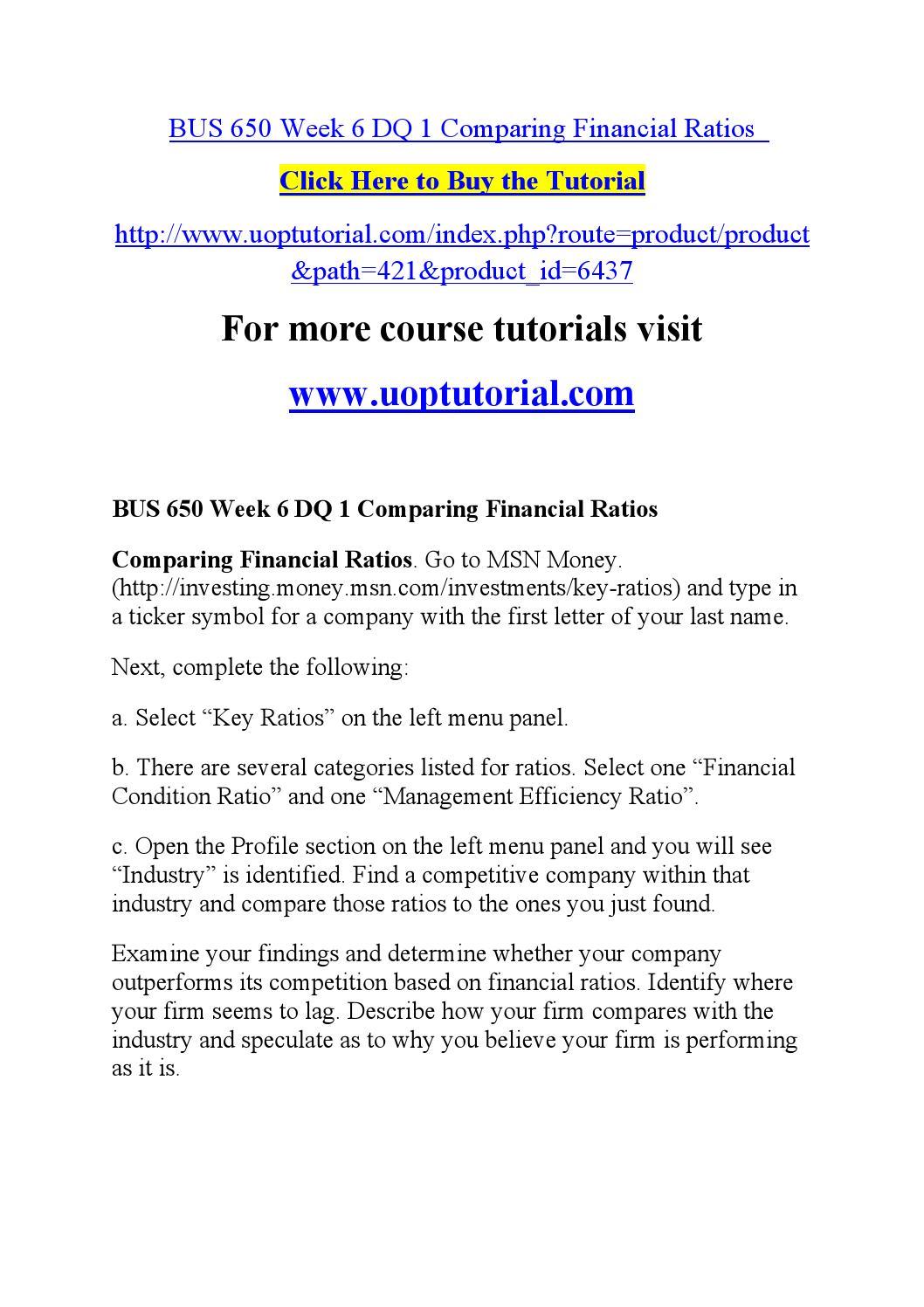 Bus 650 week 6 dq 1 comparing financial ratios by hfyhgsrd