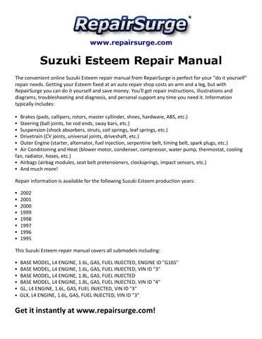 suzuki esteem repair manual 1995 2002 by edward512 issuu rh issuu com 1996 Suzuki Esteem Used Comparisons Used 1996 Suzuki Esteem Recalls