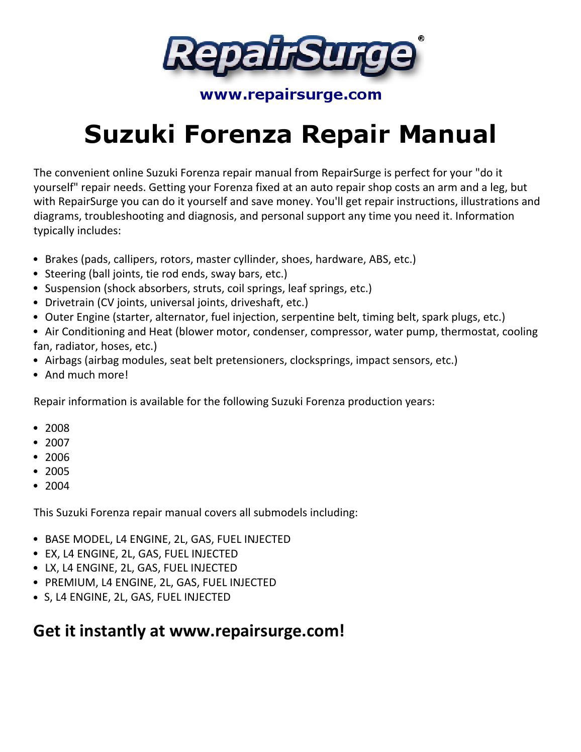 Suzuki Forenza Repair Manual 2004 2008 By Edward512 Issuu Engine Diagram