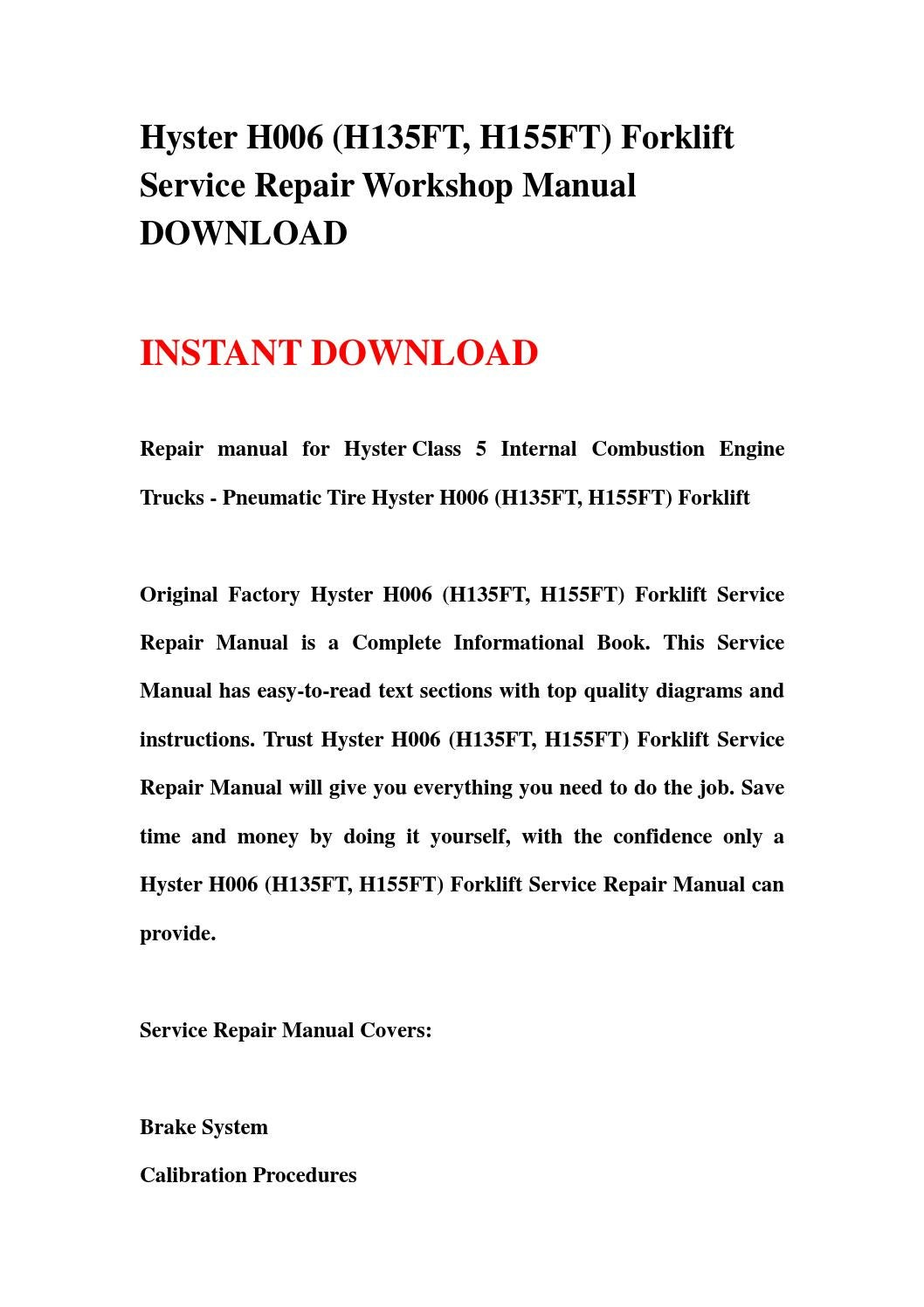 Hyster h006 (h135ft, h155ft) forklift service repair workshop manual  download by kmsjhgefjhe mfkjsenf - issuu