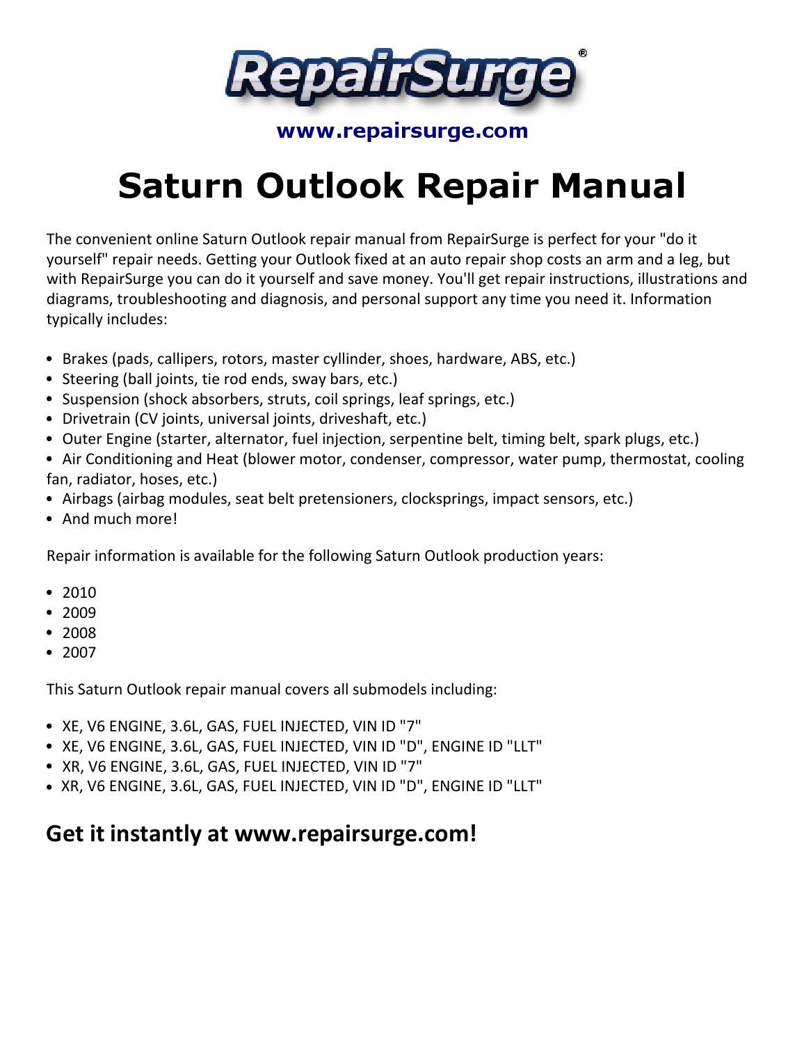Saturn Outlook Repair Manual 2007 2010 By Albert998 Issuu 3 6l V6 Engine Diagram