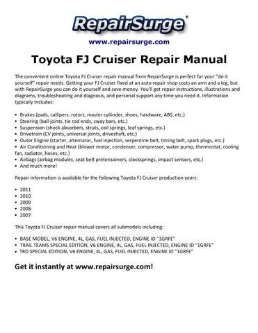 page 1  www repairsurge com  toyota fj cruiser repair manual