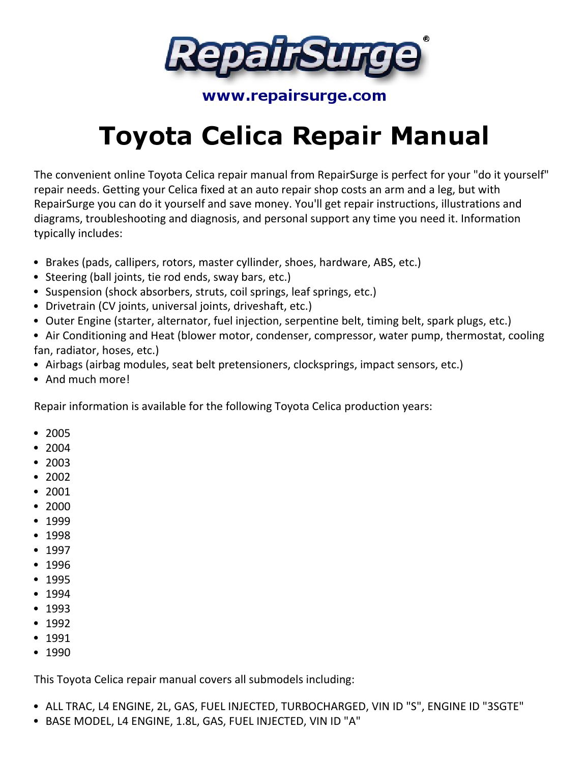 toyota celica engine diagram toyota celica repair manual 1990 2005 by ryan lung melville issuu 2003 toyota celica engine diagram toyota celica repair manual 1990 2005