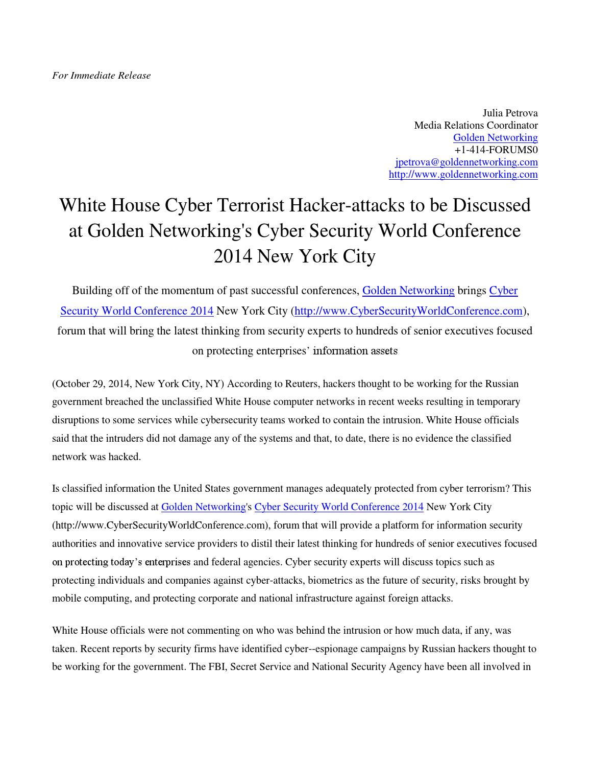 White house cyber terrorist hacker attacks to be discussed