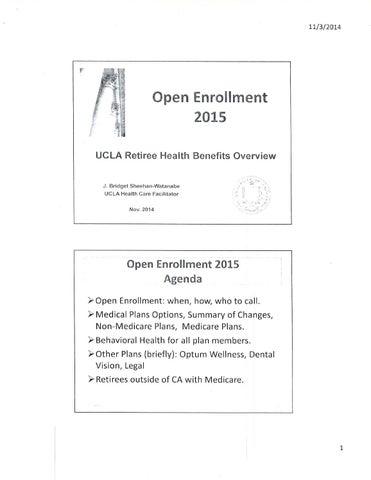 UCLA Open Enrollment Slides for Retiree Health, Nov  14