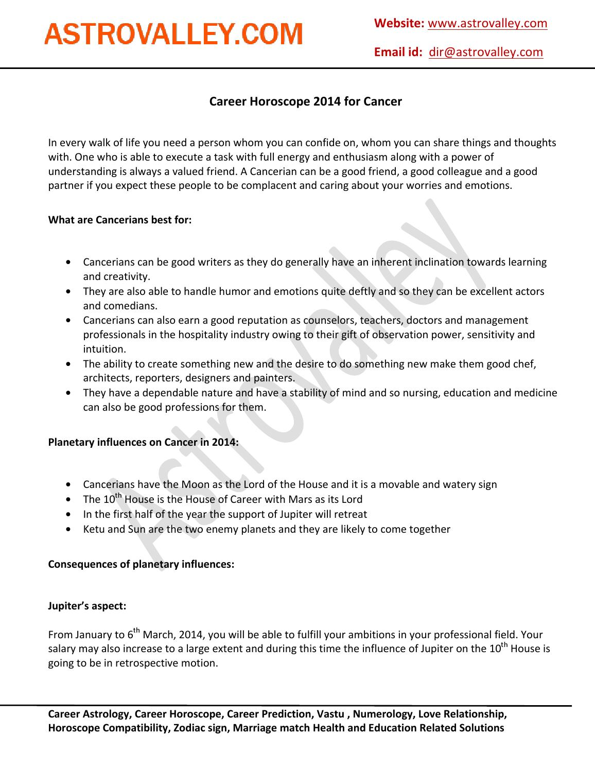 Career horoscope 2014 for cancer by Astrovalley  com - issuu