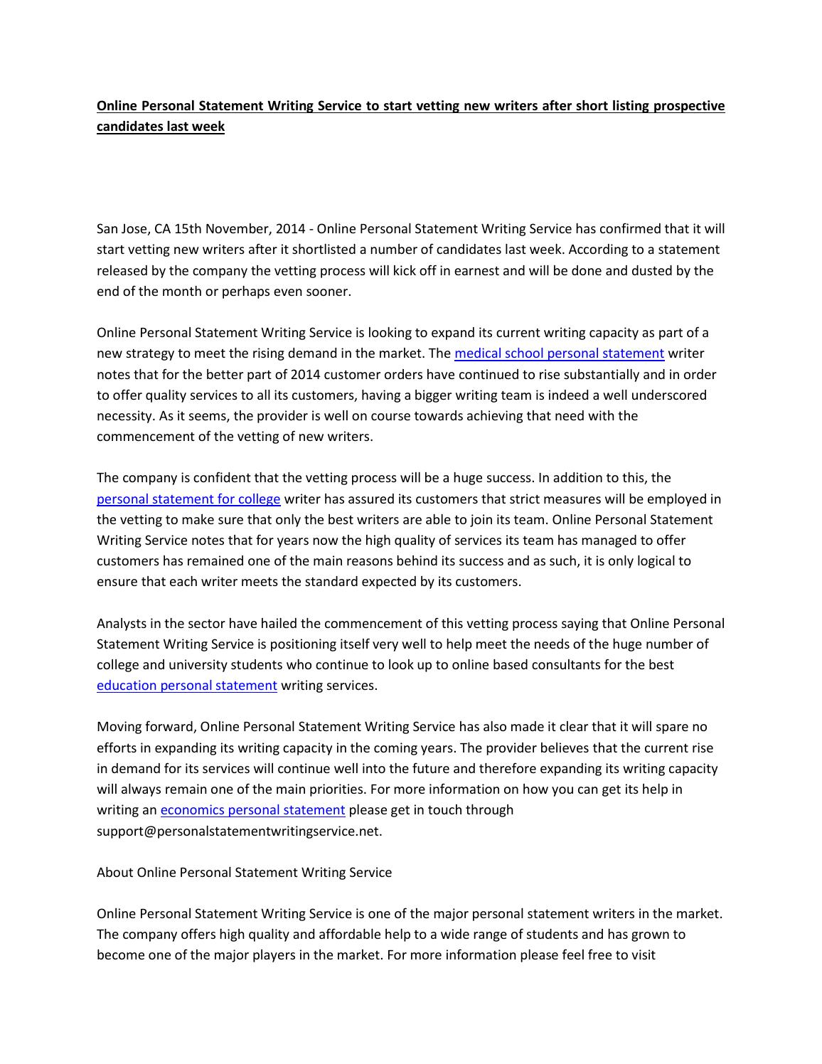 cheap personal statement writers site for college