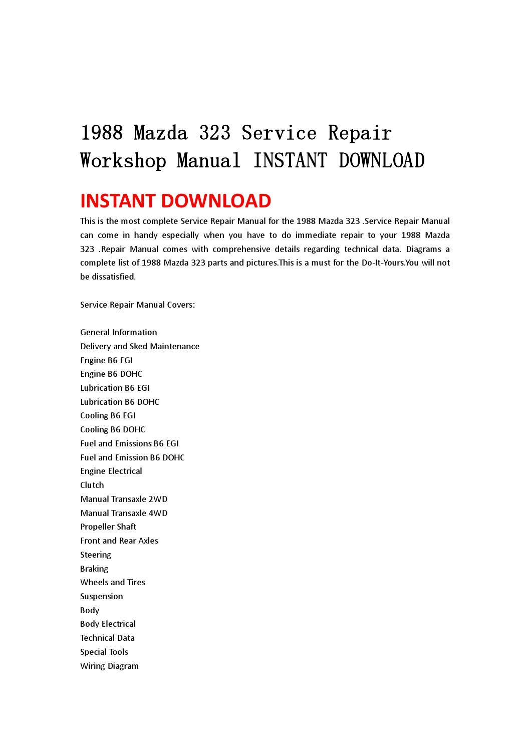 1988 Mazda 323 Service Repair Workshop Manual Instant Download By Kmjsehfn Mksejfn