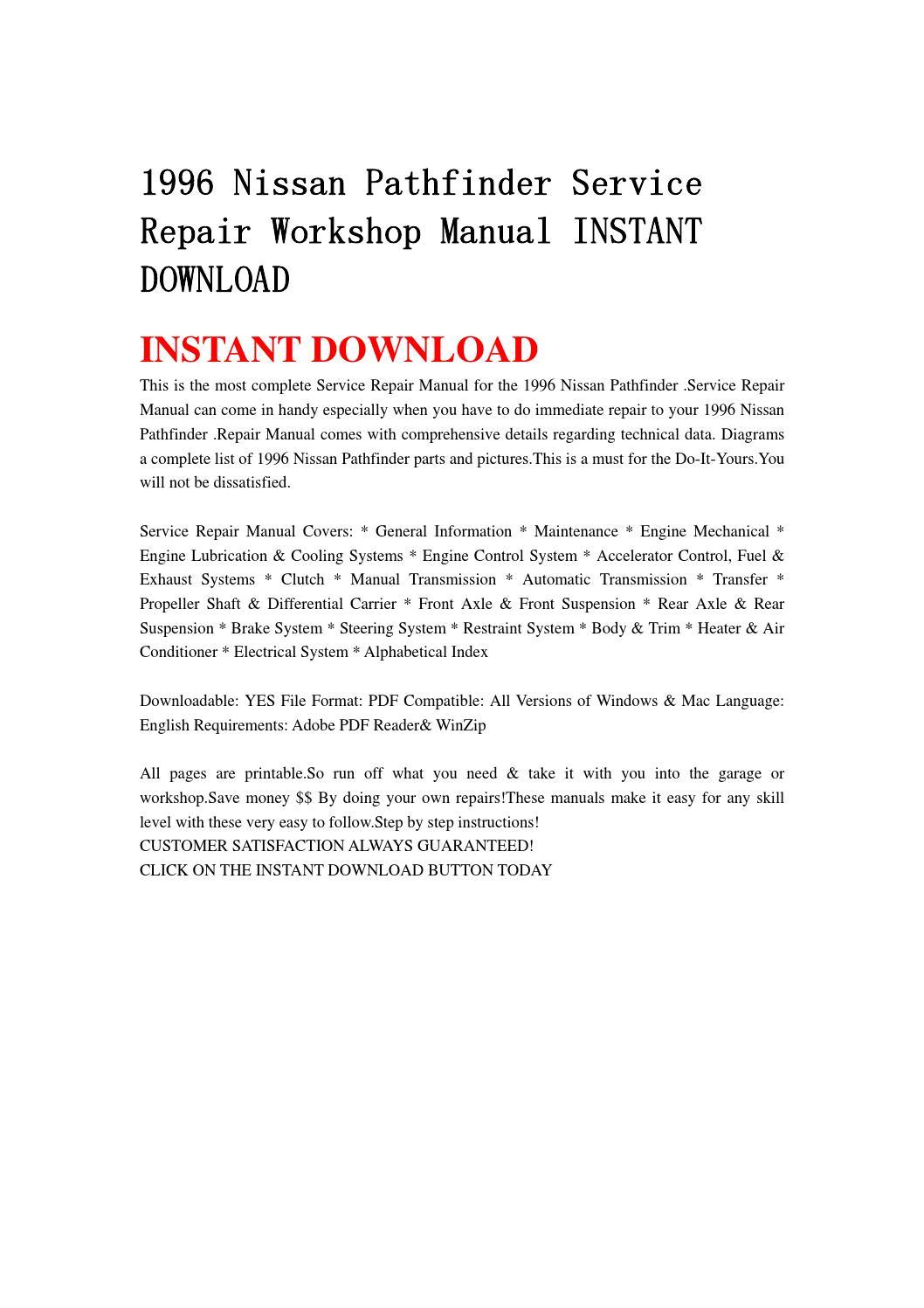 1996 nissan pathfinder service repair workshop manual instant download by  kmjsehfn mksejfn - issuu