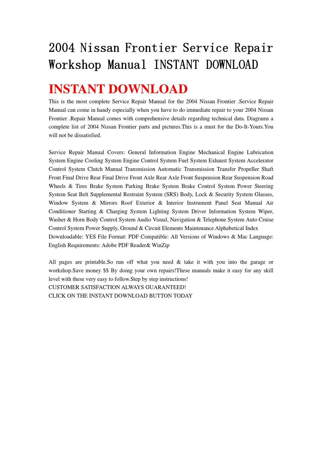 2004 Nissan Frontier Service Repair Workshop Manual Instant Download By Kmjsehfn Mksejfn
