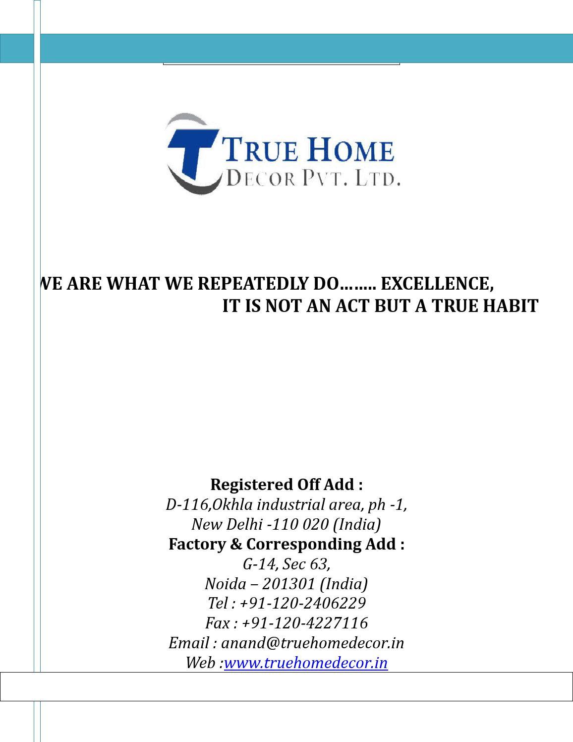 Attractive Company Profile True Home Decor Pvt. Ltd. By True Home Decor Pvt. Ltd.    Issuu