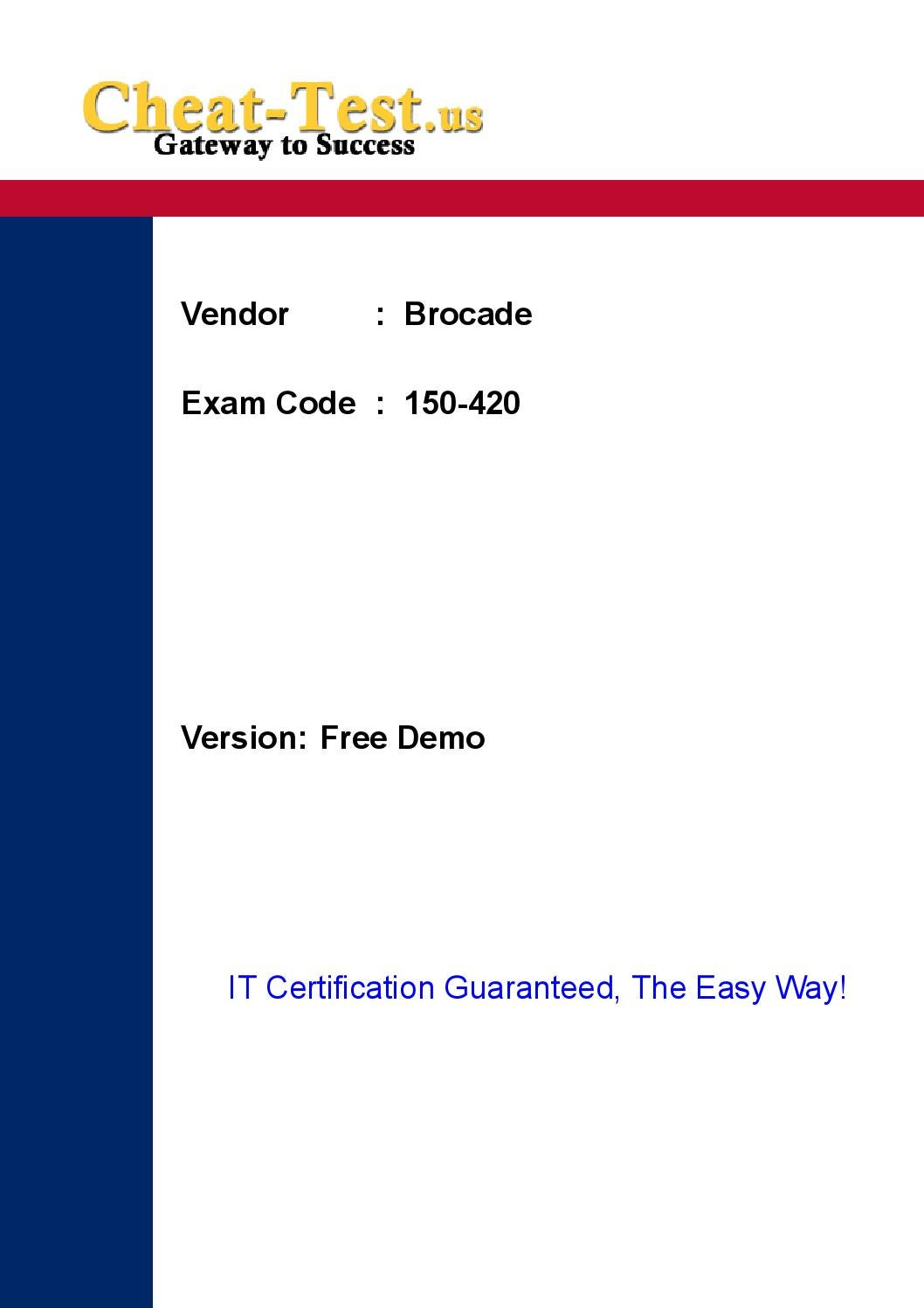 Current Brocade 150 420 Certification Exam Pdf By Tanatana Wawasi