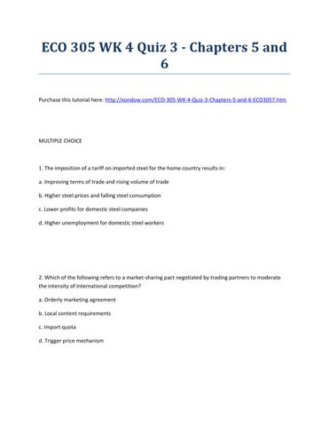 Eco 305 Wk 4 Quiz 3 Chapters 5 And 6 By Thomas Maxwell Issuu