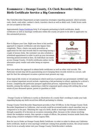 Ecommerce :: Orange County, CA Clerk Recorder Online Birth