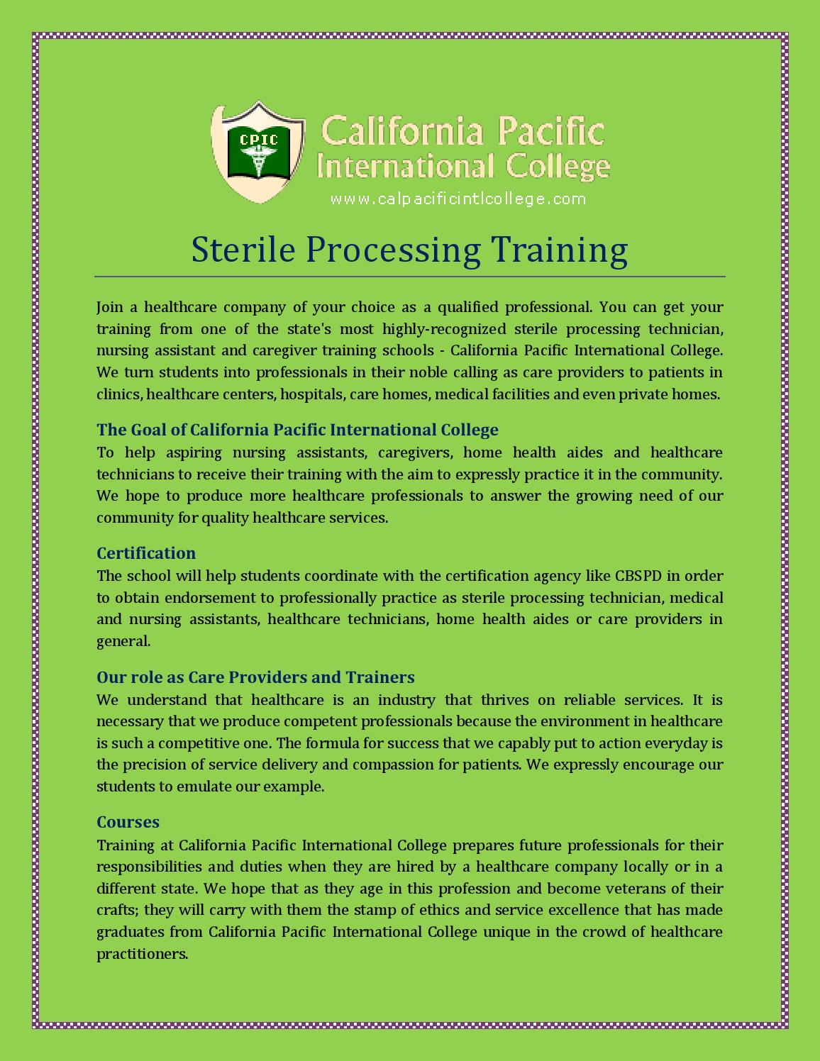 Sterile Processing Training By Calpacificintlcollege Issuu