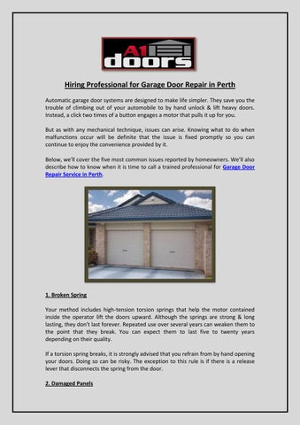 Hiring Professional For Garage Door Repair In Perth By A1 Doors Issuu