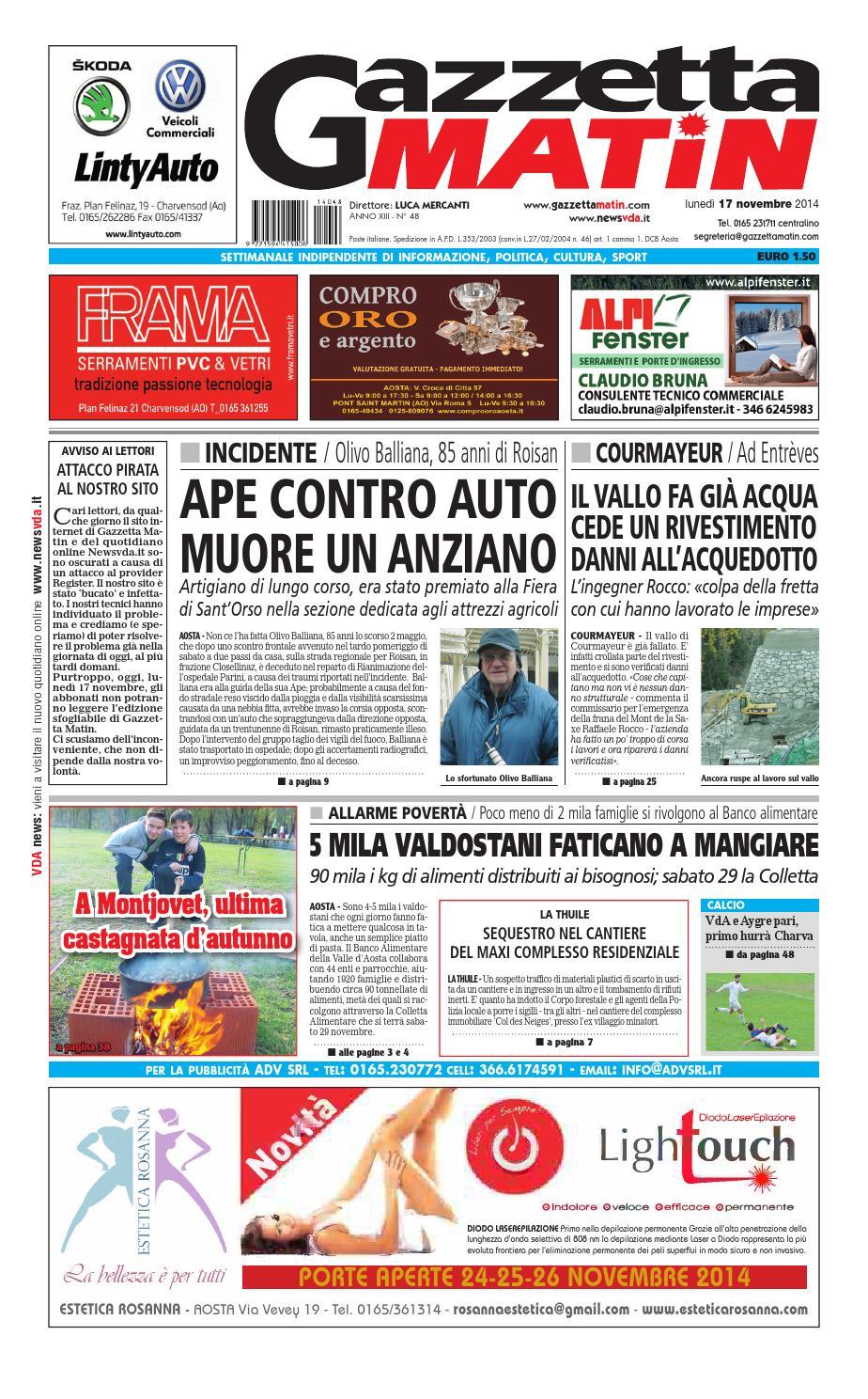 official photos 68d08 229f4 Gazzetta Matin del 17 novembre 2014 by NewsVDA - issuu
