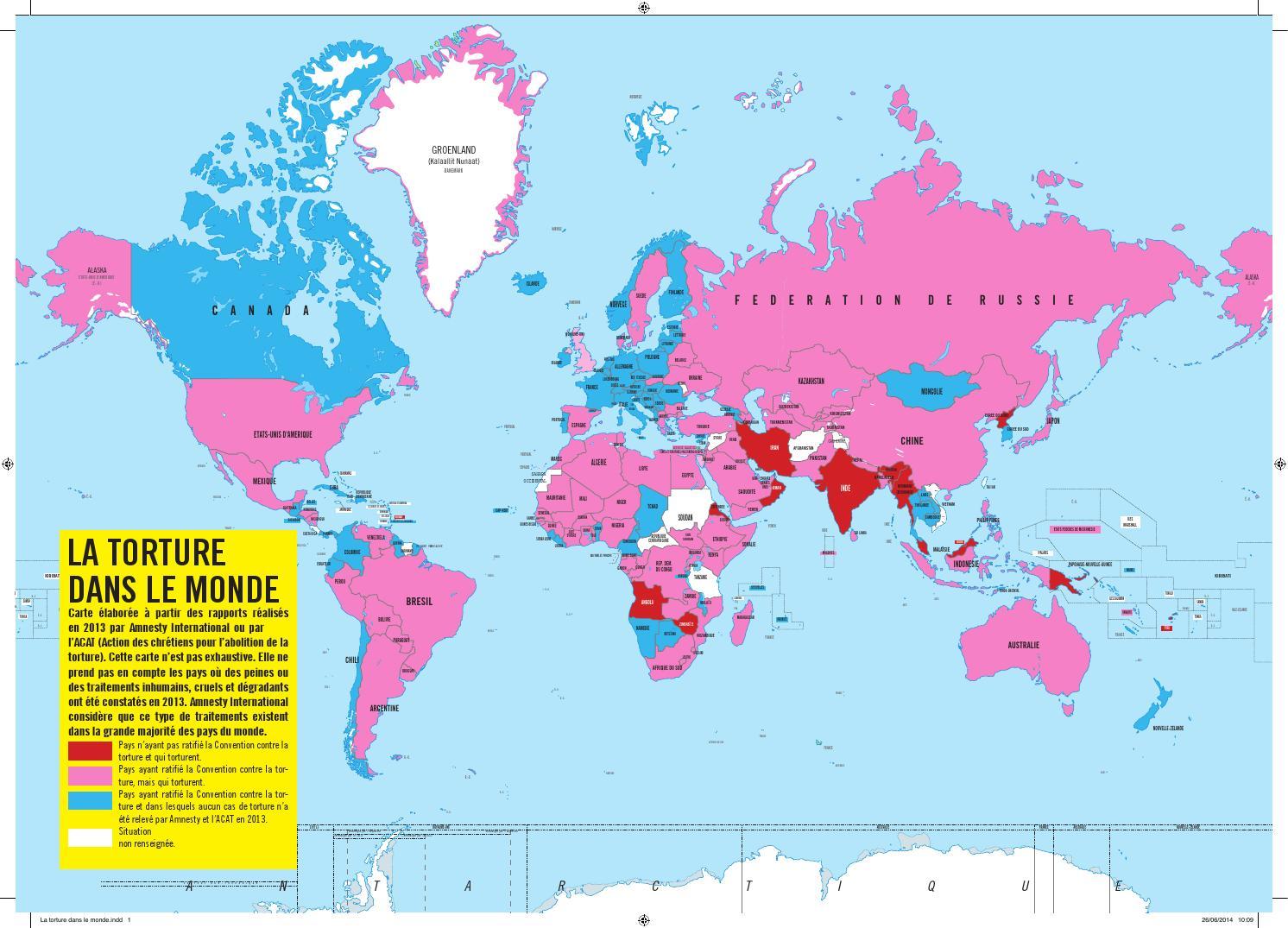 La torture dans le monde Carte géographique by Amnesty