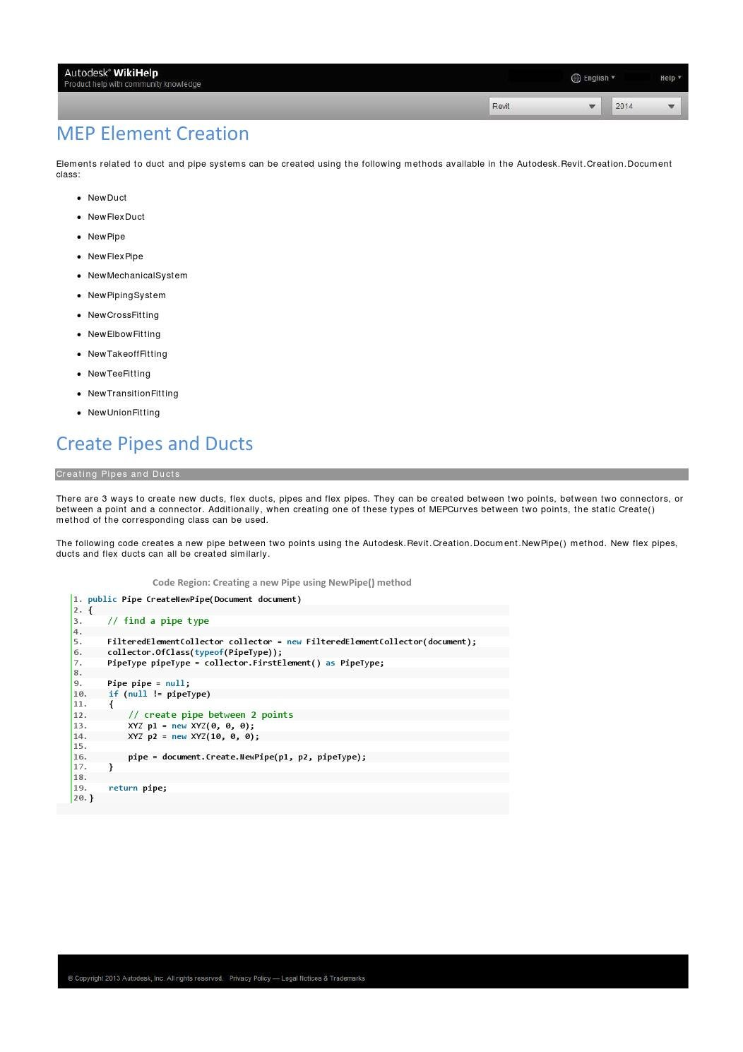 Revit 2014 platform api developers guidlines