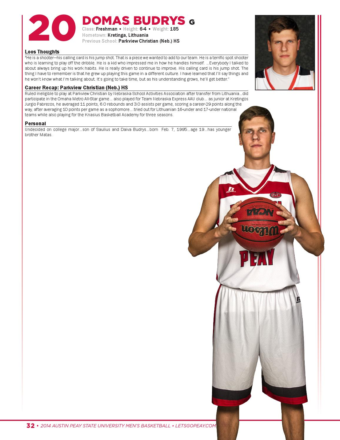 6b4f02610 2014-15 Austin Peay Men s Basketball Media Guide by APSU Sports ...