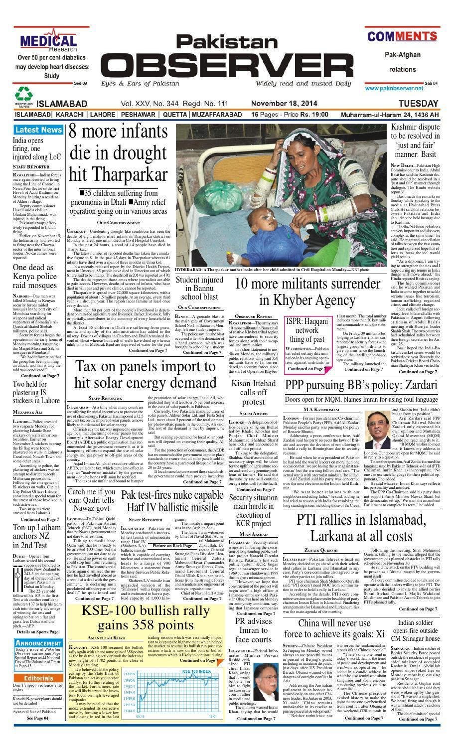 Ep18nov2014 by Pakistan Observer - issuu