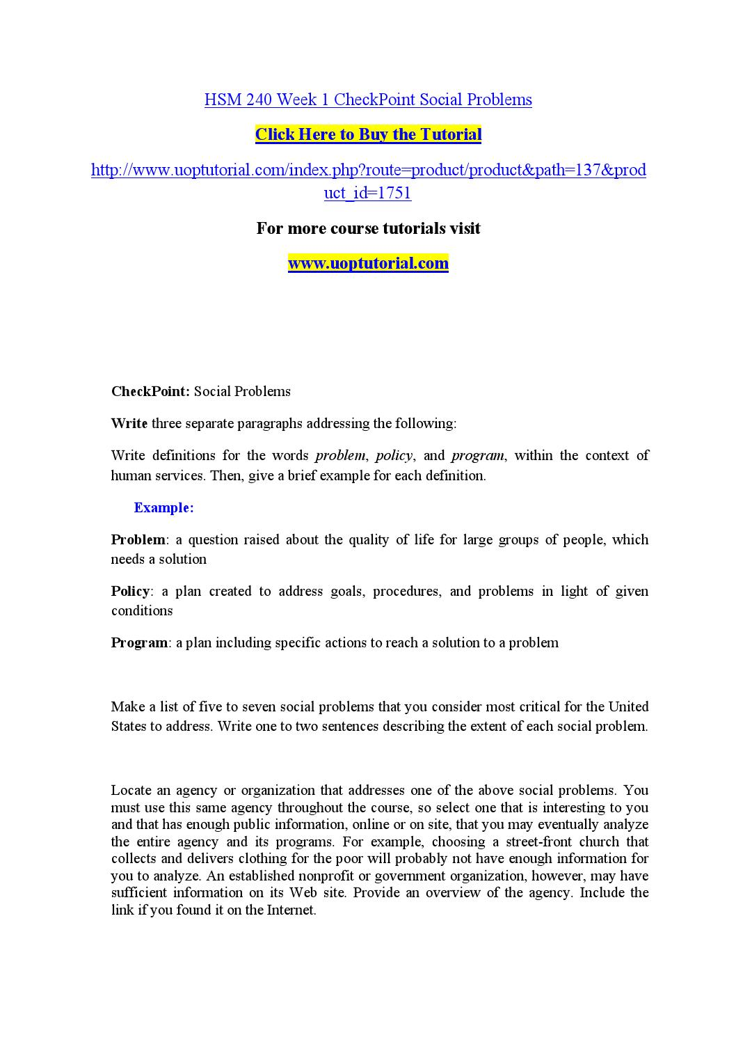 hsm 240 week 1 checkpoint social problems by hathikask - issuu