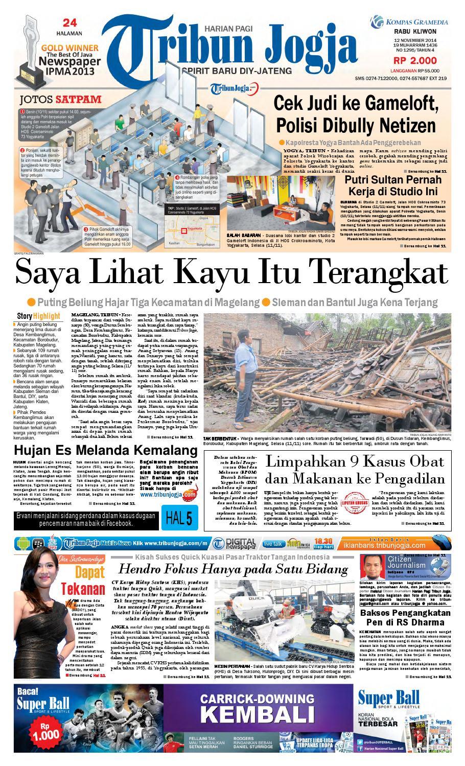 Tribunjogja 12 11 2014 By Tribun Jogja Issuu Strong Kangen Water Ph 115 Ukuran 1000 Ml Terapi Air Kelas Dunia Indonesia