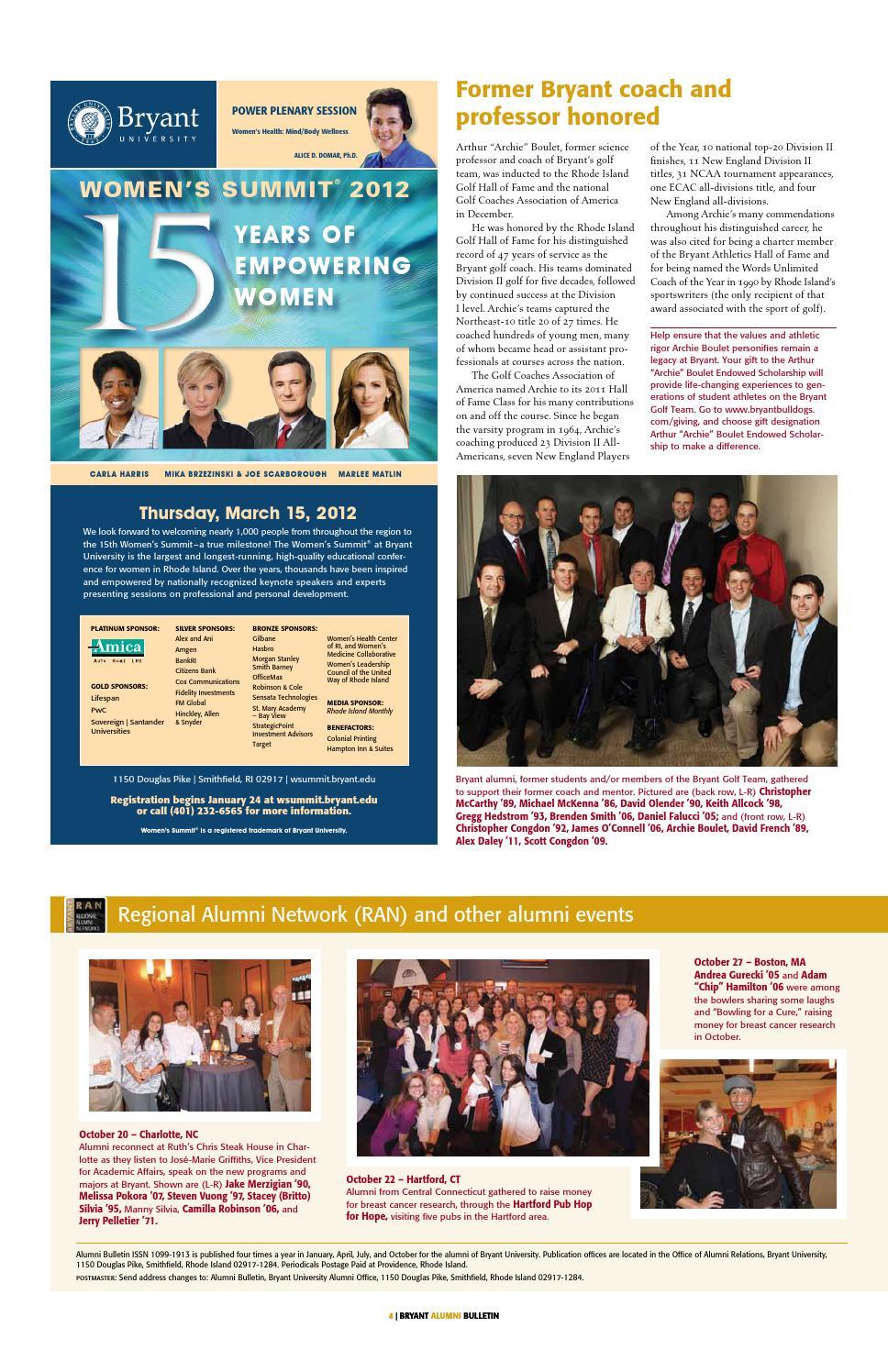 Bryant Alumni Bulletin - January 2012 by Bryant University Alumni