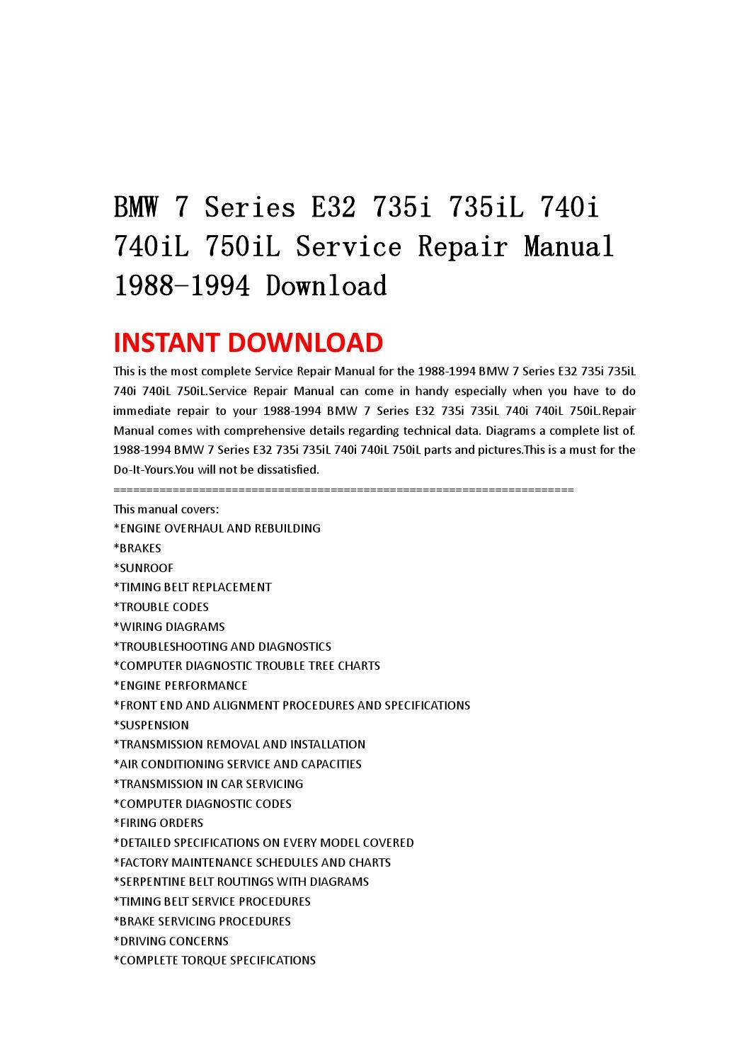 Bmw 7 Series E32 735i 735il 740i 740il 750il Service