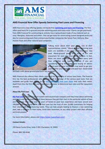 Ams financial now offer speedy swimming pool loans and financing by homeimprovementloanpros issuu How do i finance a swimming pool